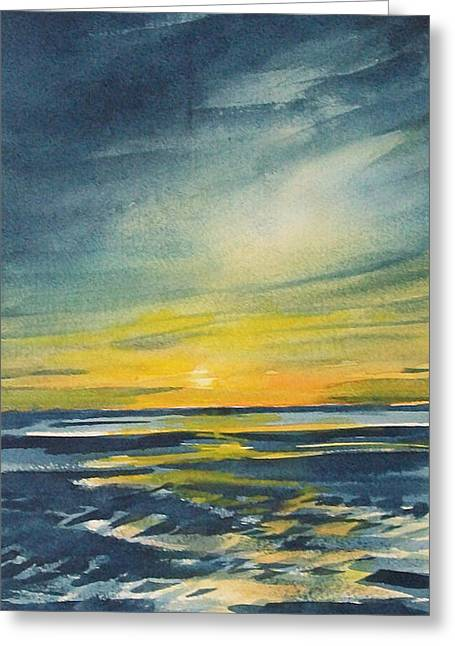 Greeting Card featuring the painting Sunset by Jane See