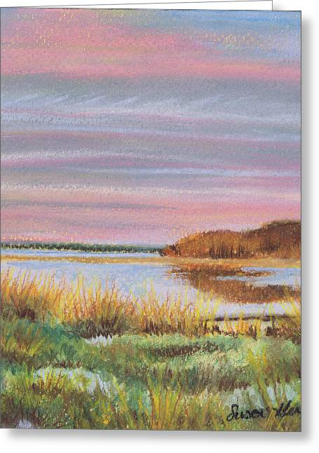 Greeting Card featuring the painting Sunset Jessups Neck by Susan Herbst