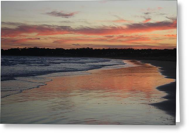 Greeting Card featuring the photograph Sunset Kissing Shore II by Amanda Holmes Tzafrir