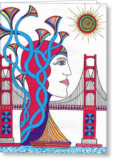 Sunset Lady At G. G. Bridge Greeting Card