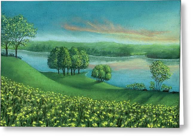 Sunset Lake A Greeting Card