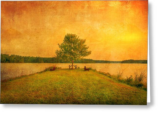 Sunset Lake And Benches Greeting Card by Gregory W Leary