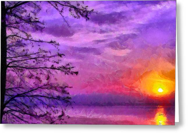 Sunset Lake Greeting Card by Anthony Caruso