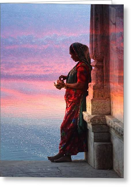 Sunset Lake Colorful Woman Rajasthani Udaipur India Greeting Card