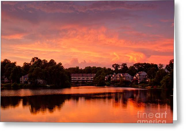 Greeting Card featuring the photograph Sunset Lake by Dale Nelson