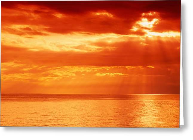 Sunset, Lake Geneva, Switzerland Greeting Card by Panoramic Images