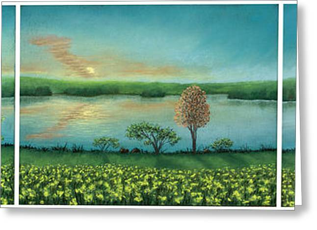 Sunset Lake Triptych Greeting Card