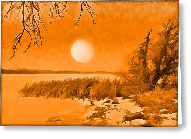 Greeting Card featuring the digital art Calm Lake Under Full Moon - Boulder County Colorado by Joel Bruce Wallach