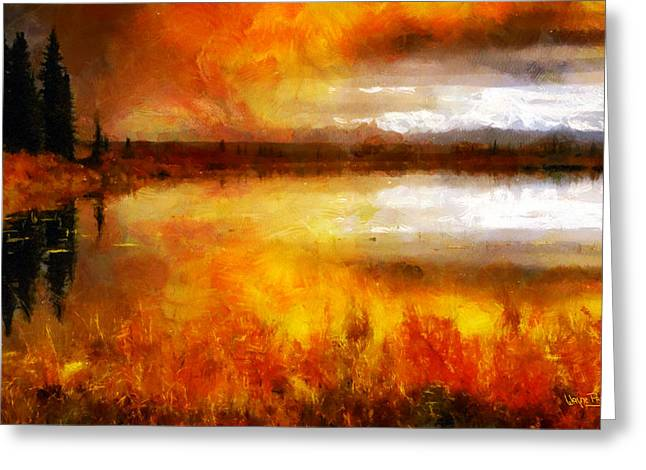 Greeting Card featuring the painting Sunset Lake by Wayne Pascall