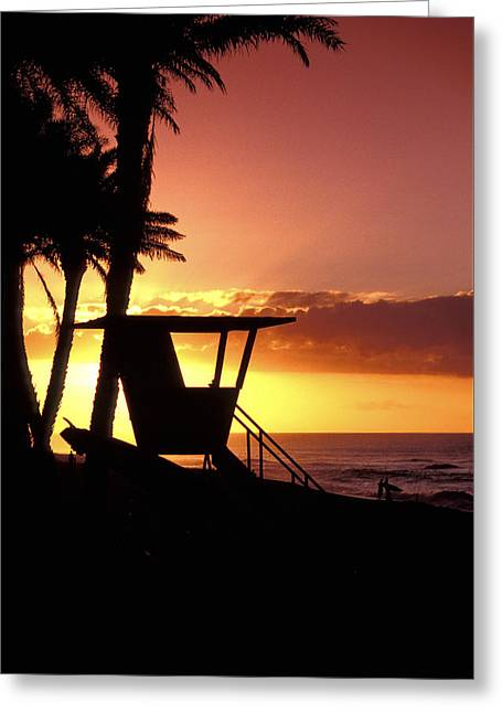 Sunset Lifeguard Station Greeting Card by Sean Davey
