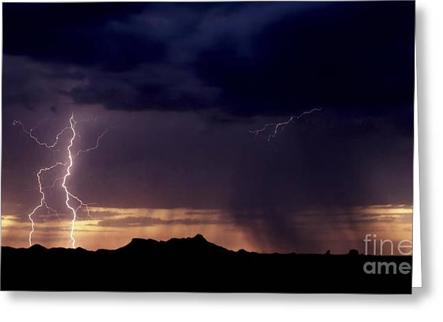 Greeting Card featuring the photograph Sunset Lightning-signed by J L Woody Wooden