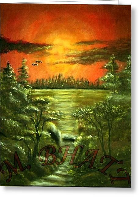 Sunset Greeting Card by M bhatt