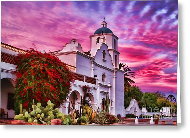 Sunset Mission San Luis Rey De Francia By Diana Sainz Greeting Card