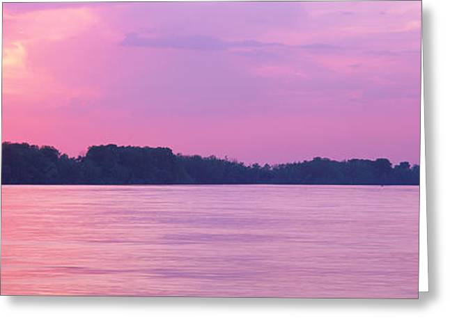 Sunset Mississippi River Memphis Tn Usa Greeting Card by Panoramic Images