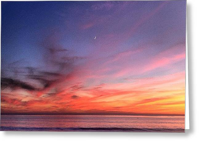 Sunset Moon Rise Greeting Card