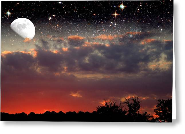 Sunset Moonrise Greeting Card by Pete Trenholm