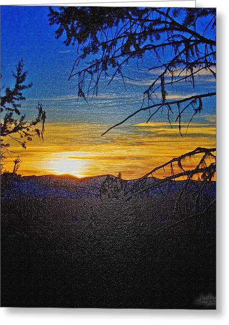Greeting Card featuring the photograph Sunset Mountain To Mountain by Janie Johnson