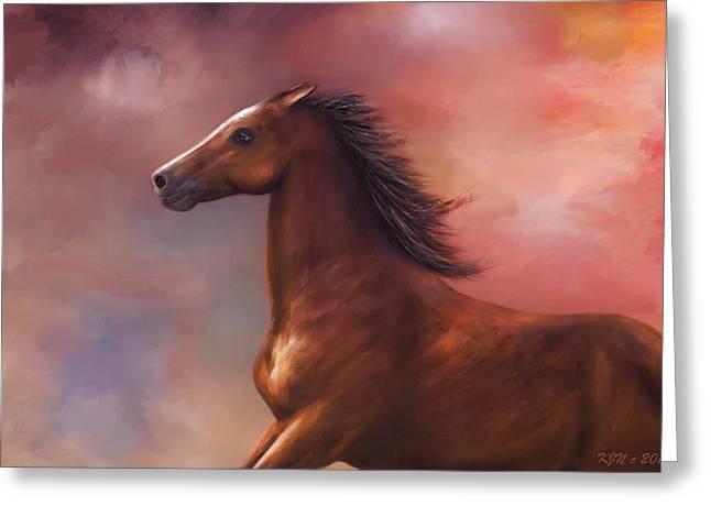 Sunset Mustang Greeting Card by Kari Nanstad