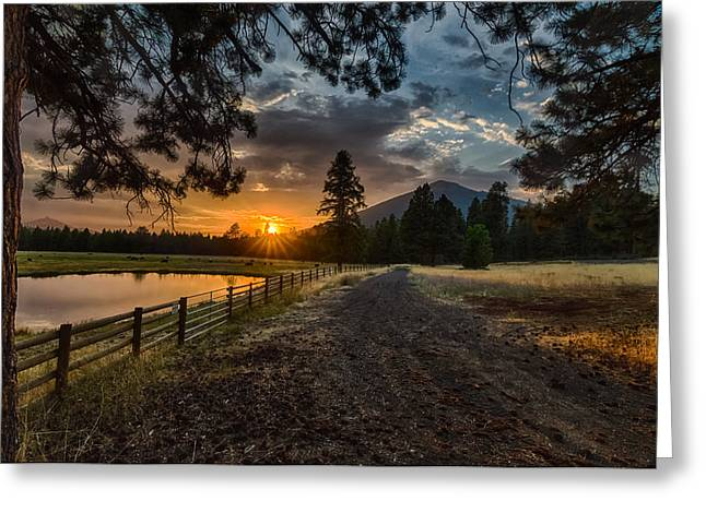 Sunset Near Sisters Oregon Greeting Card by Exquisite Oregon