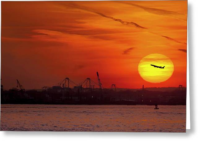 Sunset: New York Harbor Greeting Card