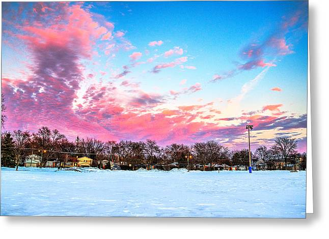 Sunset North Of Chicago Lake Michigan 1-19-14 Greeting Card by Michael  Bennett