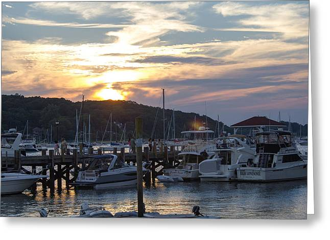 Sunset Northport Dock Greeting Card