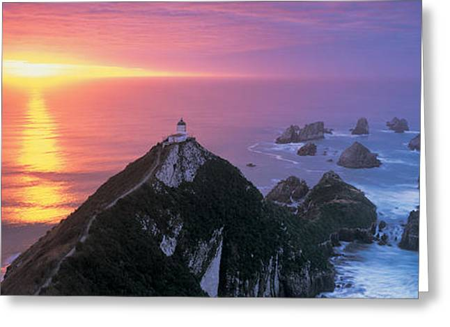 Sunset, Nugget Point Lighthouse, South Greeting Card by Panoramic Images