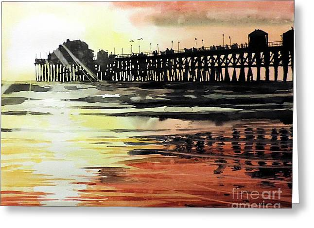 Sunset Oceanside Pier Greeting Card by Tom Riggs