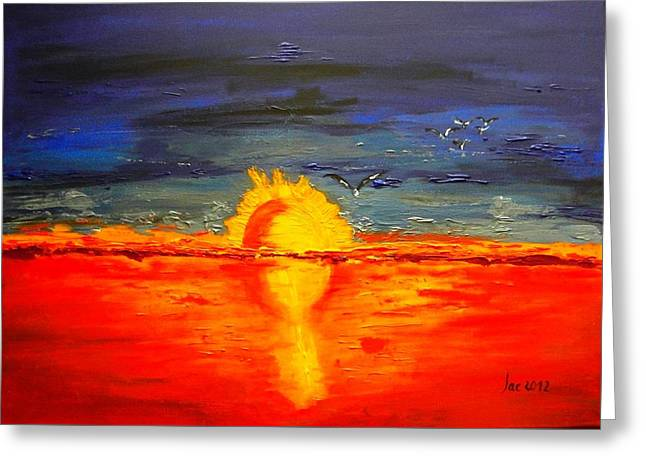 Sunset Of The Seagulls  Greeting Card by Jacqueline Schreiber