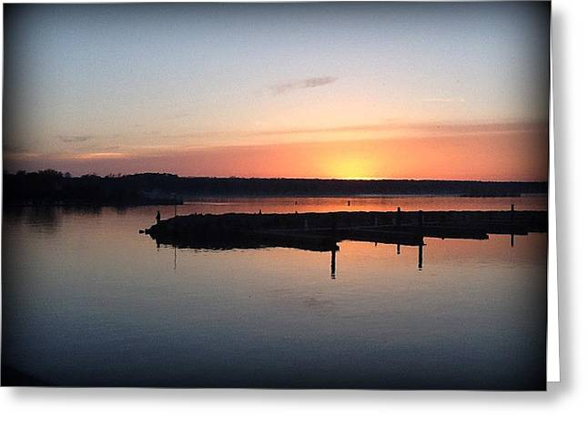 Sunset Off Old Steel Bridge  Greeting Card by T Behm