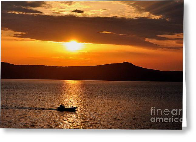 Sunset Off The Island Of Santorini Greeting Card by MaryJane Armstrong