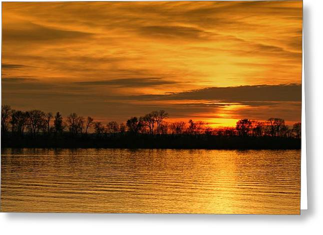 Sunset - Ohio River Greeting Card by Sandy Keeton