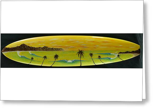 Sunset On A Surfboard Greeting Card