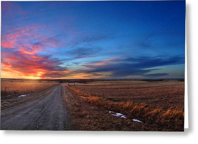 Sunset On Aa Road Greeting Card
