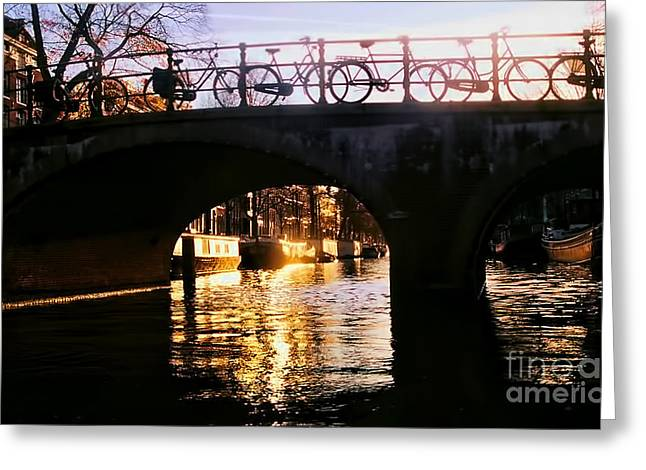 Sunset On Amstel Canal Greeting Card