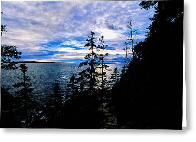 Sunset On Bass Harbor Greeting Card