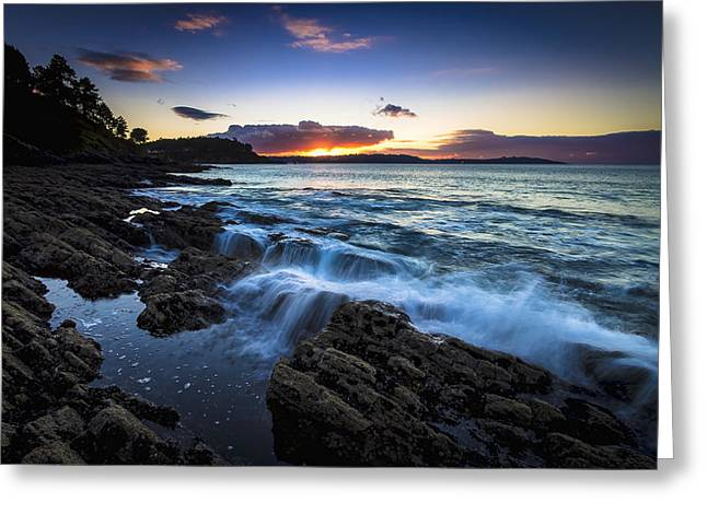 Greeting Card featuring the photograph Sunset On Ber Beach Galicia Spain by Pablo Avanzini