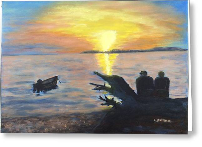 Sunset On Birch Bay Greeting Card by Liz  Ekstrom