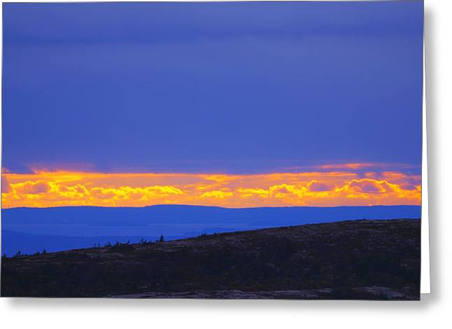 Sunset On Cadillac Mountain Acadia National Park Greeting Card by Paul Ge
