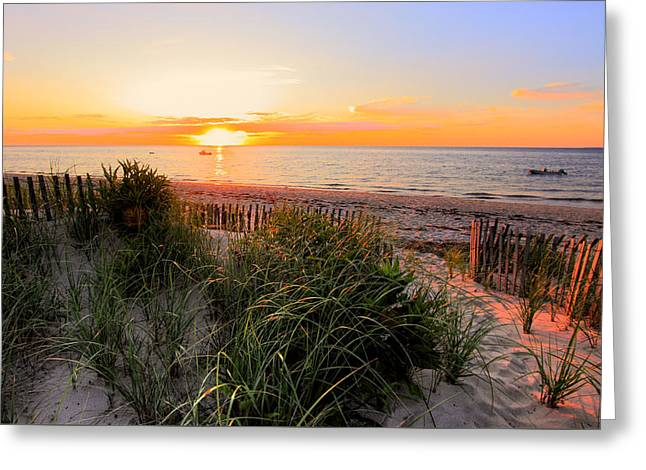Sunset On Cape Cod Bay Greeting Card by Georgia Fowler
