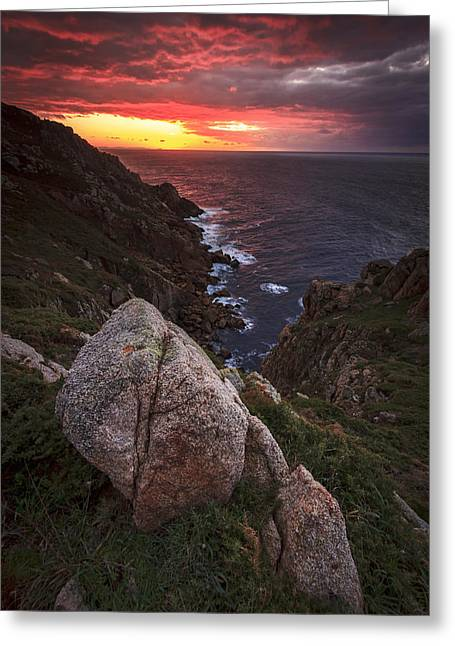 Sunset On Cape Prior Galicia Spain Greeting Card