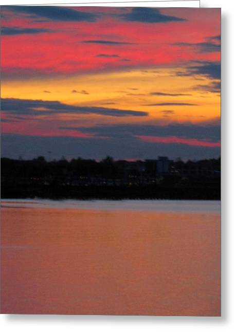 Sunset On Casco Bay Maine Greeting Card by Patricia E Sundik