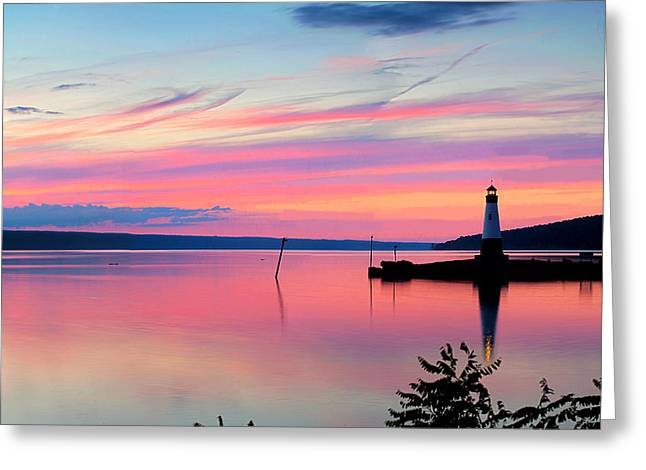 Sunset On Cayuga Lake Ithaca New York Greeting Card by Paul Ge