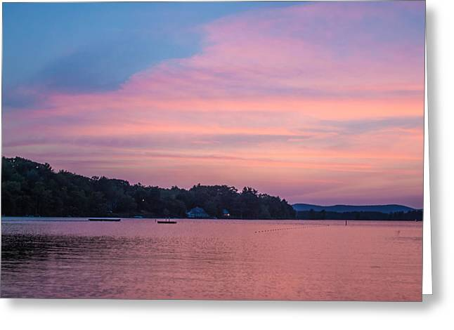 Sunset On Chickawaukee Lake Greeting Card by Ernest Puglisi