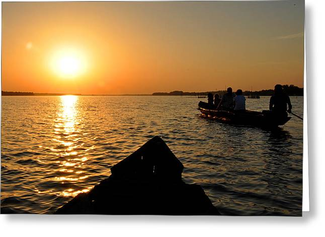 Sunset On Chilika Lake Orissa India Greeting Card