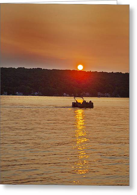 Boating Into The Sunset Greeting Card