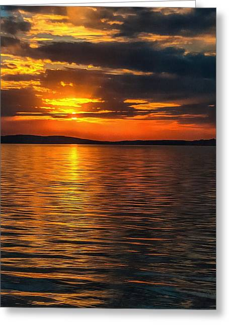 Sunset On Degray Lake Greeting Card