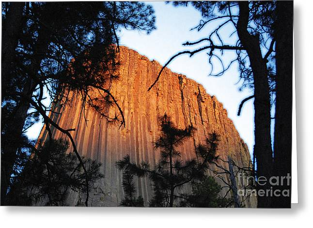 Sunset On Devils Tower National Monument Wyoming Usa Diffuse Glow Greeting Card
