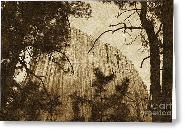 Sunset On Devils Tower National Monument Wyoming Usa Vintage Greeting Card