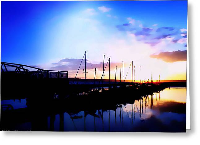 Sunset On Edmonds Washington Boat Marina Greeting Card